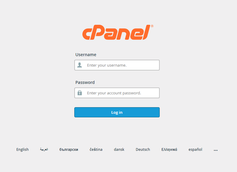 Cpanel Log in Picture